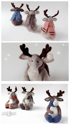 Moose, Christmas gift, hygge decor, needle felted moose, woolen toy