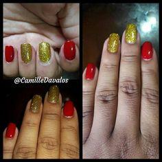 Nails Dorado y Rojo  Empieza este nuevo año con estas lindos colores #nails By @camilledavalos #instagram #facebook