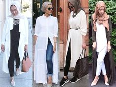 how to wear long cardigan with hijab- white hijab outfits…