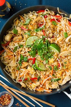 Isn't it about time we stopped relying on take out to get Chicken Pad Thai and making it at home instead? This veggie and chicken version will leave you wanting to make it at home time and time again! I will be the first to admit this is an Americanized version of Pad Thai. There's no tamarind paste in this recipe,