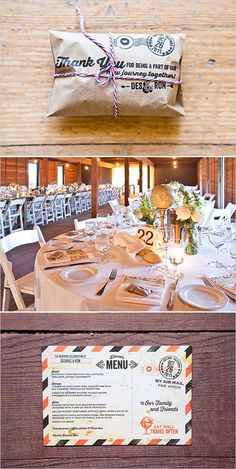 travel-themed wedding menu, tablescape, and favors