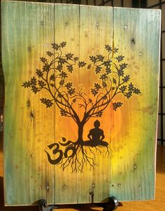 Bodhi Tree Om Pallet Art Upcycled by CryptobioticDesigns