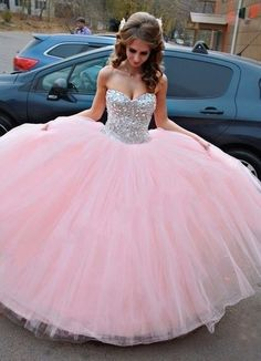 Discount Absorbing Pink Wedding Dresses, Vestido De Debutante Pink Ball Gown Wedding Dress Sweet Quinceanera Dresses With Crystals Quince Dresses, Pink Prom Dresses, Sweet 16 Dresses, Tulle Prom Dress, Pretty Dresses, Beautiful Dresses, Bridesmaid Dresses, Party Dress, Light Pink Quinceanera Dresses