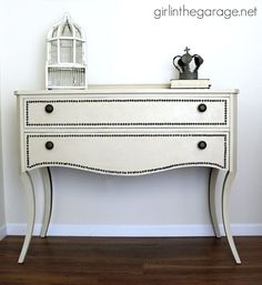 Tacks are the perfect finishing touch for this gorgeous vanity upgrade.
