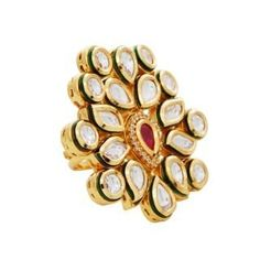 Elderflower kundan ring
