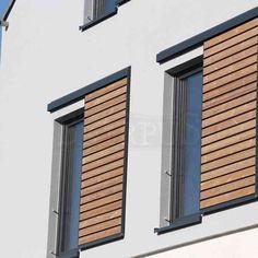 External wooden sliding shutters made from Siberian larch or heat-processed pine Wooden Shutters Exterior, Outdoor Window Shutters, Modern Shutters, Exterior Blinds, Types Of Shutters, Metal Shutters, Wooden Window Blinds, Wooden Windows, Sliding Windows