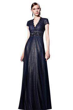 209edd38f6ff Little Smily Women s V-neck Lace Floor Length Formal Evening Dress with Cap  Sleeve.