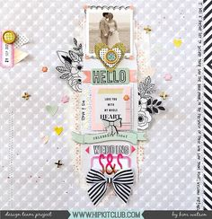 Mixed media can be soft and pretty just how designer @kjstarre has beautifully added softness to her layout created using the August 2017 Hip Kits.