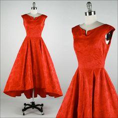 Vintage 1950s Dress  Red Satin  Flocked by millstreetvintage