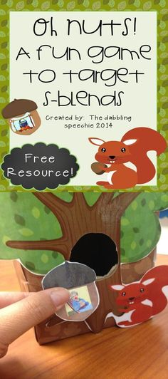 oh nuts squirrel s-blend game. Fall articulation activities using squirrels. FREE printable for speech therapy Preschool Speech Therapy, Articulation Therapy, Speech Activities, Speech Therapy Activities, Speech Language Pathology, Language Activities, Speech And Language, Preschool Activities, Shape Activities