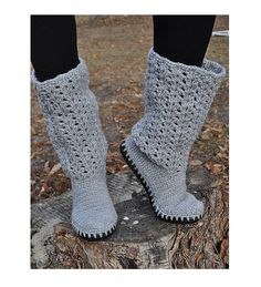 Crochet Boots Grey Summer Laced Boots Outdoor Boots Handmade to Order
