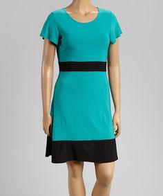 Look at this #zulilyfind! Jade & Black Scoop Neck Dress - Plus by Star Vixen #zulilyfinds