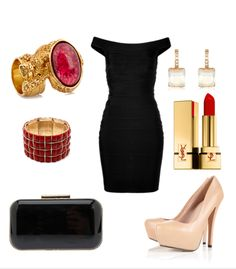 For a special occasion, Herve Leger inspired bodycon dress. with red jewels, nude heels and simple clutch. final touch with red lips. classic but always elegant!