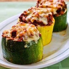 Recipe for Meat, Tomato, and Mozzarella Stuffed Zucchini Cups (Low-Carb, Gluten-Free) [from KalynsKitchen.com]