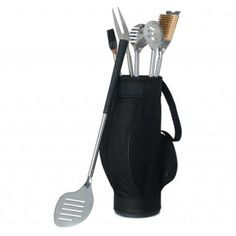 Novelty 5 Piece BBQ Grill Cooking Tools in Black Golf Bag and Golf Grips Wedding Gift for Groom #wedding #gifts #daisydays