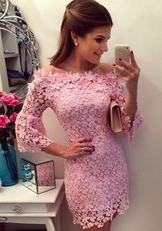 Pink Plain Hollow-out Boat Neck Bell Sleeve Lace Dress