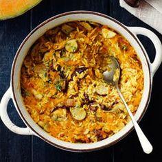 Zapiekanka ryżowa z piersią kurczaka, dynią i grzybami