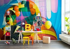 Discover our assortment of eye-catching & premium vintage wallpaper mural designs! Free delivery and wallpaper paste a Kids Room Wallpaper, Retro Wallpaper, Murals For Kids, Wallpaper Paste, Rebel, Hot Air Balloon, My New Room, Decoration, Wall Murals