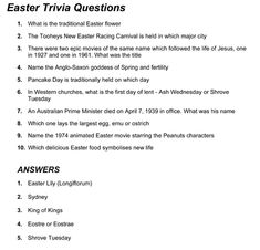 It is a picture of Old Fashioned Easter Trivia Questions and Answers Printable