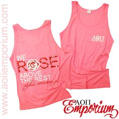AOII Emporium custom chapter order on bid day tanks!! Cute neon pink Alpha Omicron Pi Rose above the rest tanks!! Contact the emporium at custom@alphaomicronpi.org
