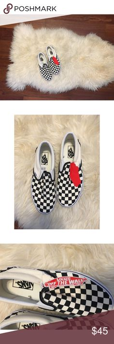 NWT Vans Checkerboard Slip On Shoes 💕 these are a brand new never been worn pair of Vans shoes. My aunt bought these for me, but these are two size too small for me! Haha! Anyways, final price. I don't do trades. Bundle for a discount 💕 Vans Shoes Sneakers