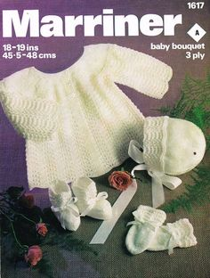 baby matinee coat and bonnet vintage knitting pattern 3 ply wool 18 - 19 inch chest size PDF Instant download
