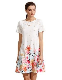Floerns Womens Short Sleeve Flower Casual Tshirt Dress Beige S -- Click image to review more details.
