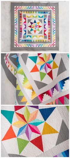 Frequency Quilt kit by Craftsy featuring bright and modern solid fabrics. Modern Medallion quilt pattern in a rainbow of colors. #rainbowquilt #medallionquilt #modernquilt This is an affiliate link.