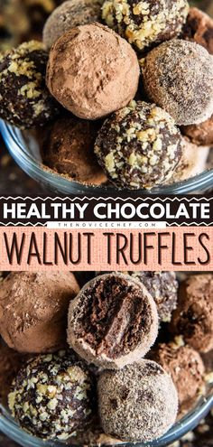 Brace yourself for a Mother's day recipe adventure! Only four healthy ingredients are used to make these healthy chocolate walnut truffles! These heart-healthy truffles contain walnuts, protein powder, and dates to keep you satisfied for longer. Best Cookie Recipes, My Recipes, Whole Food Recipes, Snack Recipes, Dessert Recipes, Family Recipes, Eggless Desserts, Vegan Desserts, Easy Desserts