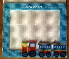 Train photo frame hama perler beads by deco.kdo.nat