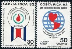 Francobolli - Donazione e trasfusione di sangue - Blood donation and transfusion Costa Rica 1982