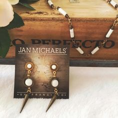 Howlite Laser Drop Earrings Dangly brass earrings with white Howlite accents and surgical steel posts. Handmade in SF • Price is firm unless bundled. Jan Michaels Jewelry Earrings
