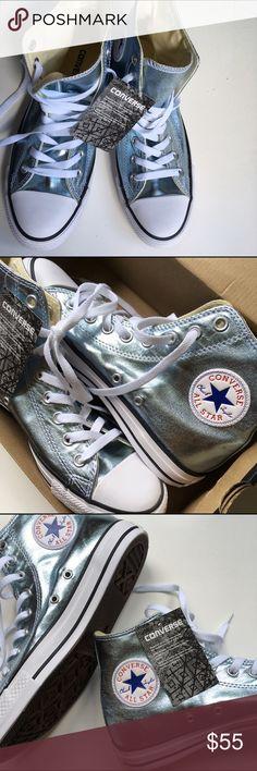Adult Metallic Glacier Converse Sneakers - Unisex Adult Chuck Taylor Metallic Glacier All Star Converse High Top Sneakers - Unisex. Women's Size 9. Men's Size 7. Metallic Glacier/White/Black. New with original box. Converse Shoes Sneakers