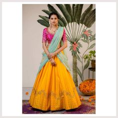 Making some heads turn this festive season with Bhargavi beautiful Radha : Winter Festive collection of bright and eccentric half sarees and sarees with sparkling sequin 31 October 2018 Lehenga Saree Design, Half Saree Lehenga, Lehenga Style, Lehnga Dress, Indian Lehenga, Sari, Lehenga Designs, Lehenga Blouse, Silk Lehenga