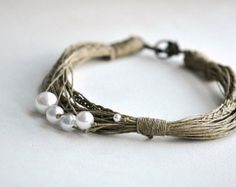 GIFT IDEA Ivory Linen necklace with pearls and by Cynamonn