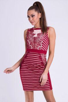 Red Lace Mesh Stripe Dress - Red Short Striped Dress. Dress For Short Women, Short Dresses, Formal Dresses, Women's Dresses, Base Clothing, Perfect Wardrobe, Beautiful Lingerie, Little Dresses, International Fashion