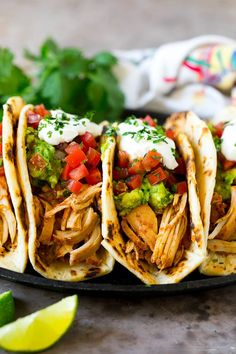 Slow Cooker Chicken Tacos Recipe | Crock Pot Chicken Tacos #tacos #chicken #slowcooker #crockpot #tacotuesday #dinner #dinneratthezoo