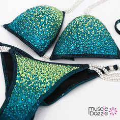Blue Green Crystal Bikini Competition Suit