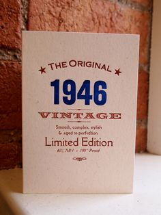 70th Seventieth 1946 birthday letterpress greetings card invitation by TheSmallprintCompany on Etsy