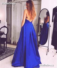 Blue Spaghetti Straps V-neck Pleated Prom Dress Evening Dress on Storenvy