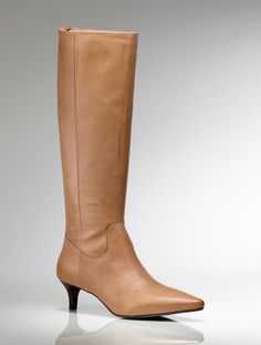 I would like Camel color and a Black pair.  Basic boots for your work attire and go good with pencil skirts and shift dresses.  **Camel leather kitten heel boots from Talbots**