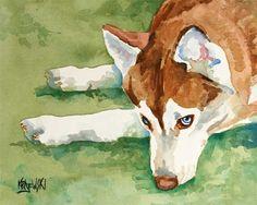 Siberian Husky Art Print of Original Watercolor Painting - 8x10. $12.50, via Etsy.