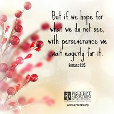 Romans 8:25...With patience and in prayer, we will await the glorious coming of the Lord's promises.