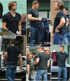 "Jared and Jensen on Supernatural set for last night episode  Supernatural Season 12 episode 05, "" The One You've Been Waiting For "" Pictures Credit : Twitter: KelsiSphoto"