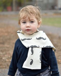 Movember Charity Organic Moustache Scarf - Eco Friendly Winter Kids Accessory - Black and White Cotton Knit Toddler Boys Tube Scarf.