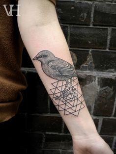 Bird & Geometric Tattoo,