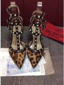 Valentino Printed Ponyskin Rockstud Ankle Strap Black (6.5CM Heel)