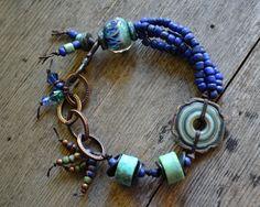 Earthy Bohemian Bracelet Lampglass Chrysocolla by JeSoulStudio
