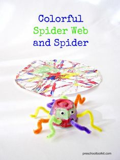 Preschool Toolkit - Colorful spider web and spider