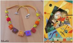 Size / Weight/Material a total of approx. 67 cm  weight 40 g.  Used materials Fastener from metal, glass beads, leather tape, hand-crocheted; wood and ceramic beads  Production kind Hand-made